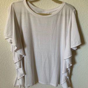 GAP white short sleeve ruffle top